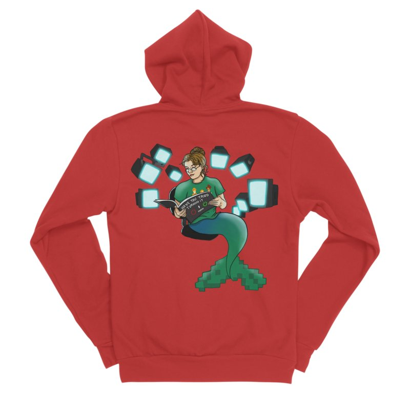 Geek Mermaid Women's Sponge Fleece Zip-Up Hoody by JordanaHeney Illustration