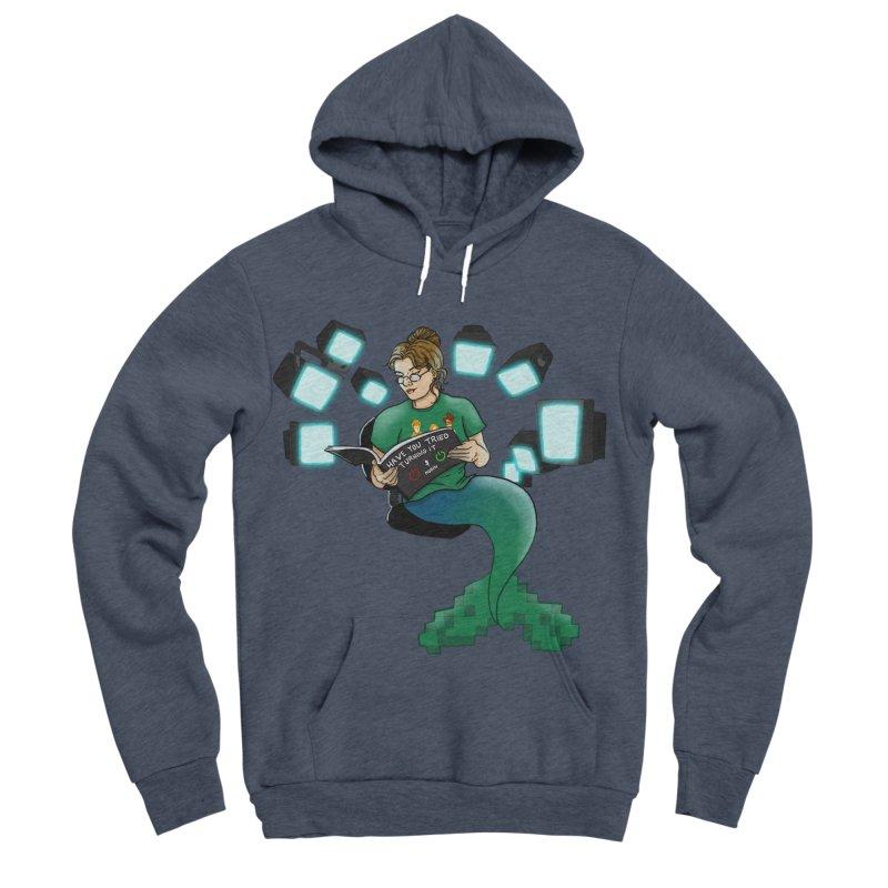 Geek Mermaid Men's Sponge Fleece Pullover Hoody by JordanaHeney Illustration