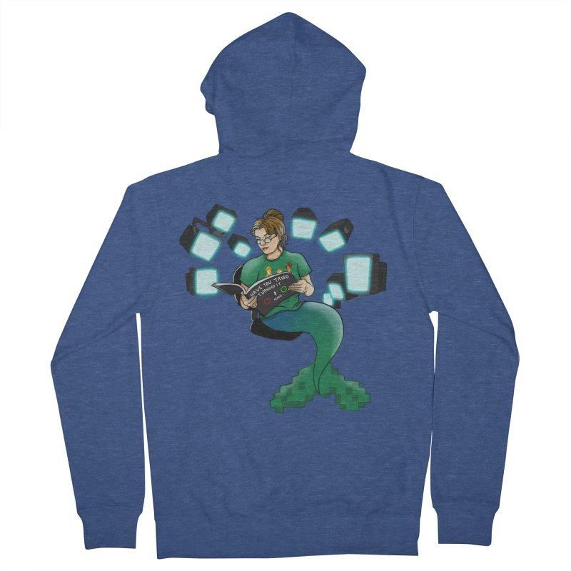 Geek Mermaid Men's French Terry Zip-Up Hoody by JordanaHeney Illustration