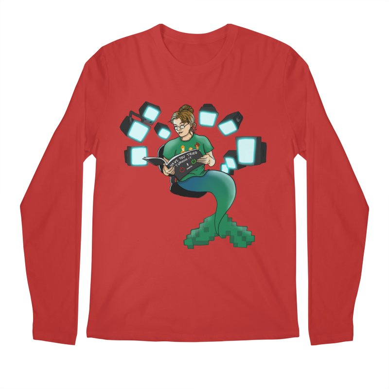 Geek Mermaid Men's Regular Longsleeve T-Shirt by JordanaHeney Illustration