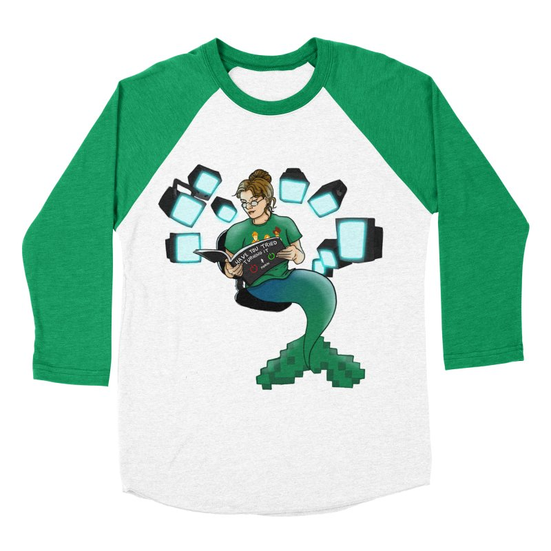 Geek Mermaid Women's Baseball Triblend Longsleeve T-Shirt by JordanaHeney Illustration