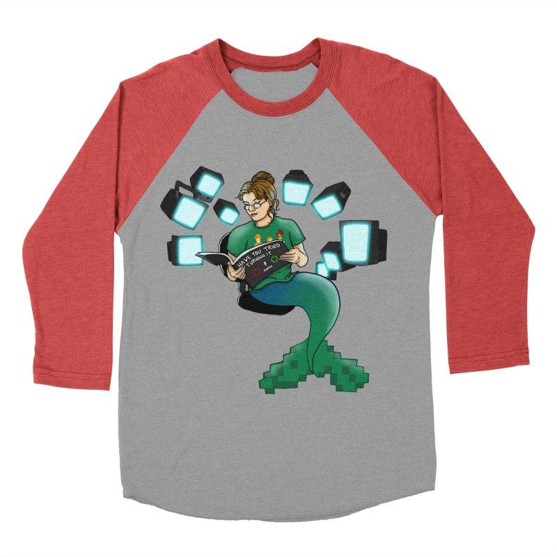 Geek Mermaid Men's Baseball Triblend Longsleeve T-Shirt by JordanaHeney Illustration