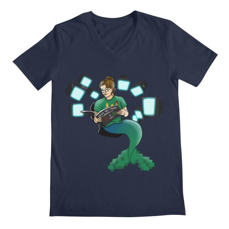 Geek Mermaid Men's Regular V-Neck by JordanaHeney Illustration