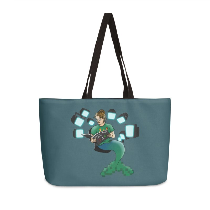 Geek Mermaid Accessories Weekender Bag Bag by JordanaHeney Illustration