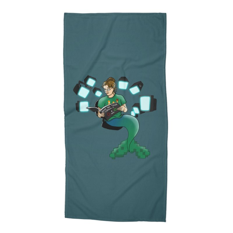 Geek Mermaid Accessories Beach Towel by JordanaHeney Illustration