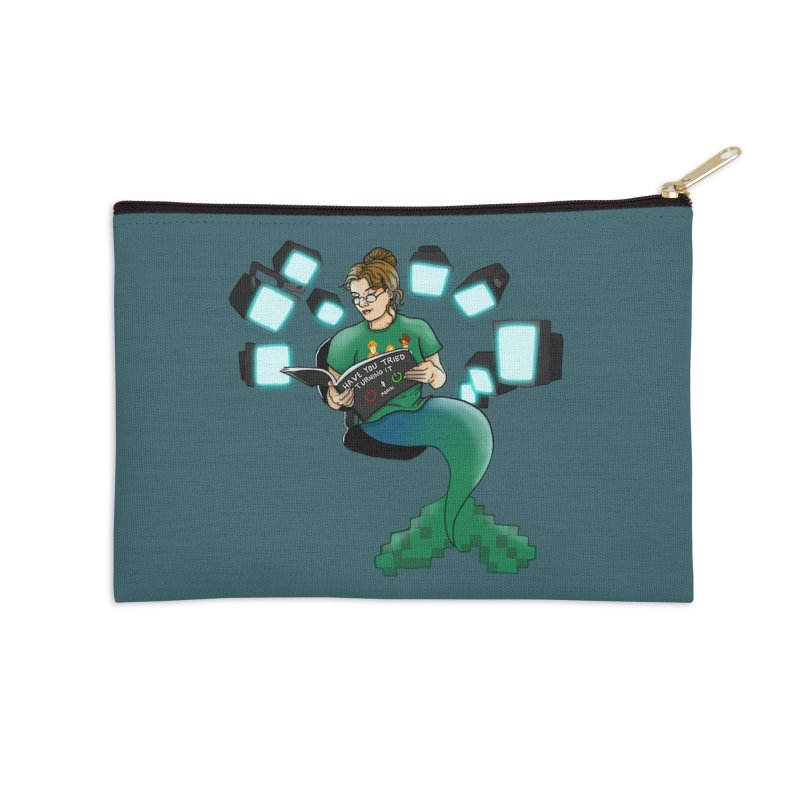 Geek Mermaid Accessories Zip Pouch by JordanaHeney Illustration