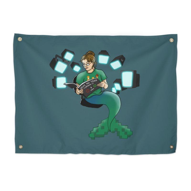 Geek Mermaid Home Tapestry by JordanaHeney Illustration
