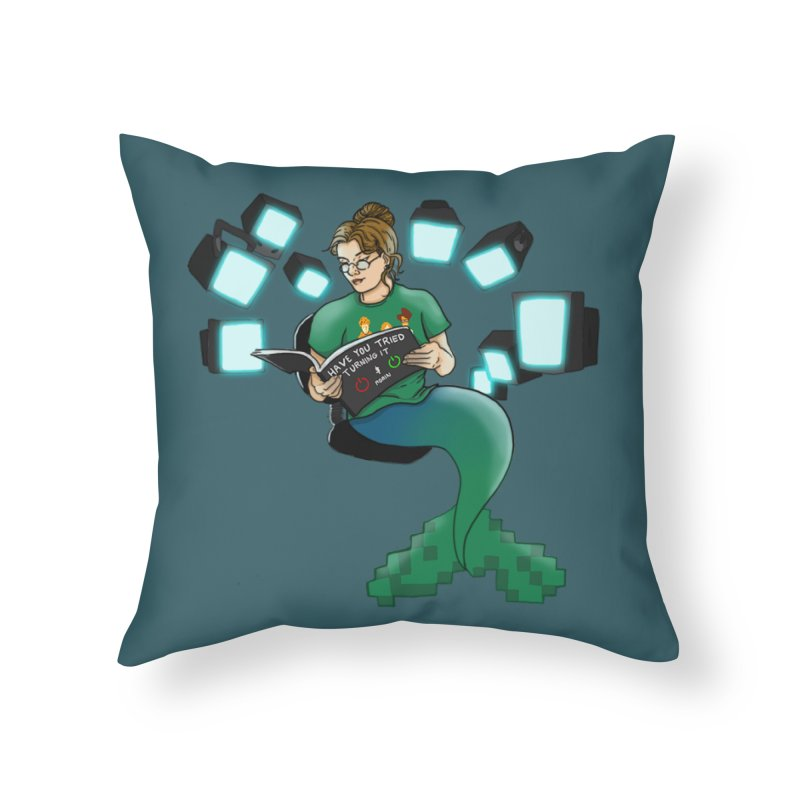 Geek Mermaid Home Throw Pillow by JordanaHeney Illustration