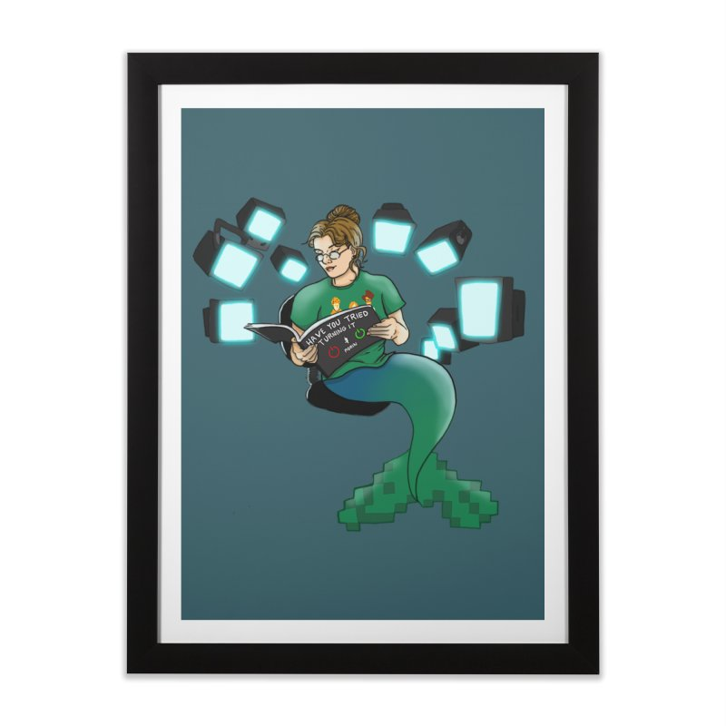 Geek Mermaid Home Framed Fine Art Print by JordanaHeney Illustration