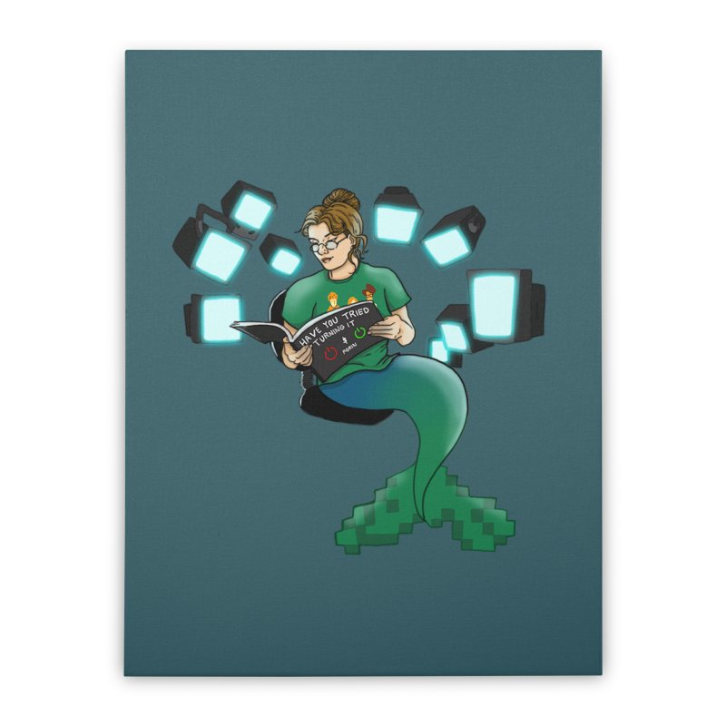 Geek Mermaid Home Stretched Canvas by JordanaHeney Illustration