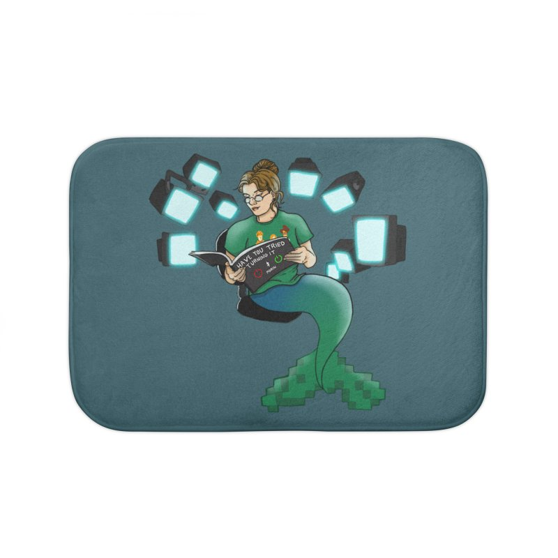 Geek Mermaid Home Bath Mat by JordanaHeney Illustration
