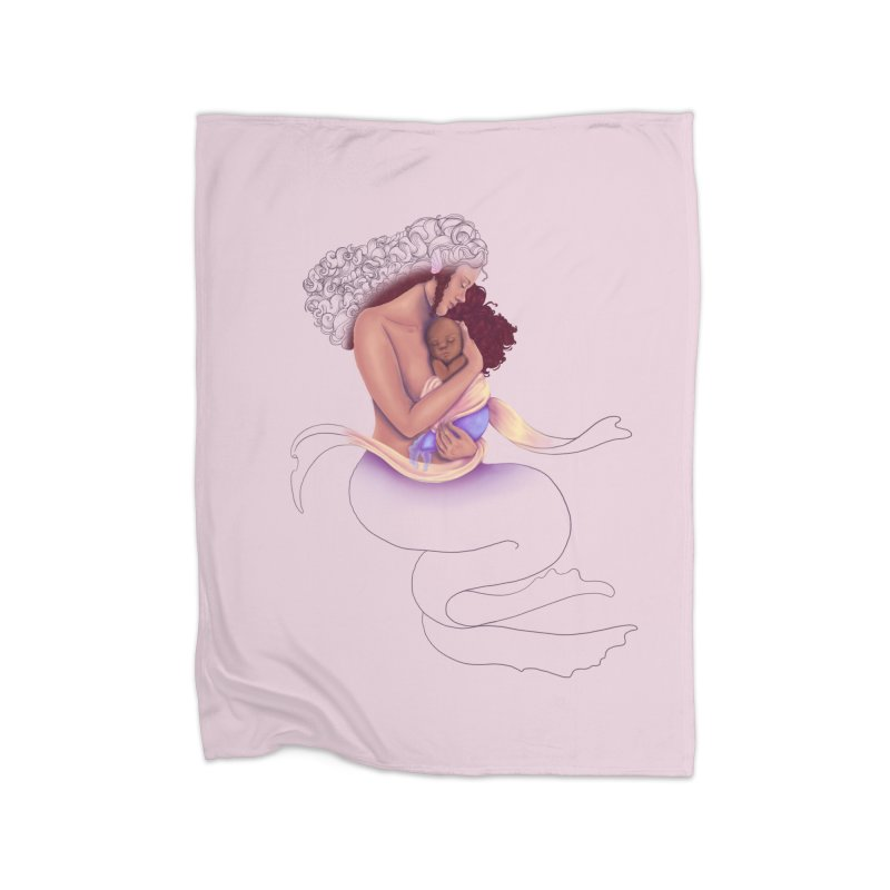 Mother Mermaid Home Blanket by JordanaHeney Illustration