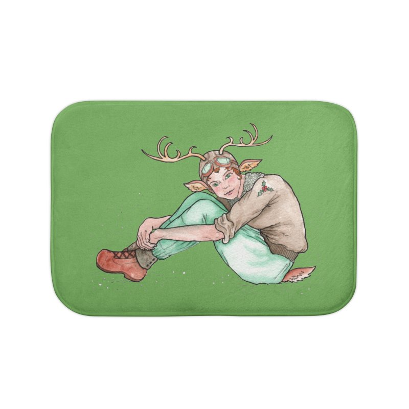 Blitzen Home Bath Mat by JordanaHeney Illustration