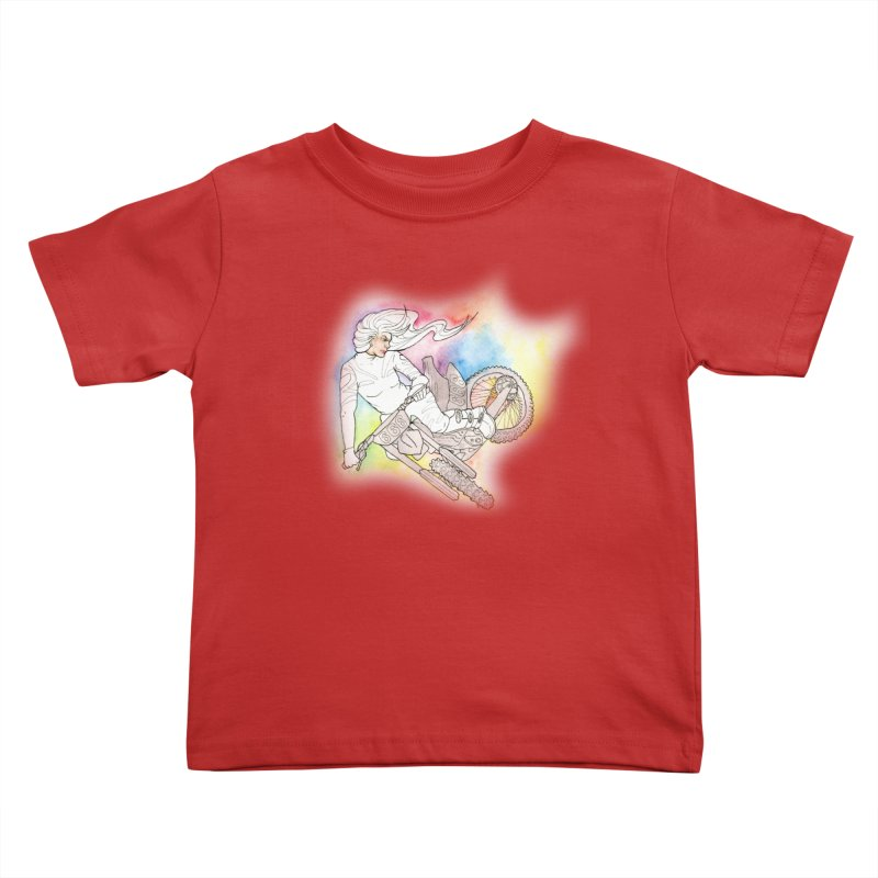 Motorcycle Maiden Kids Toddler T-Shirt by JordanaHeney Illustration