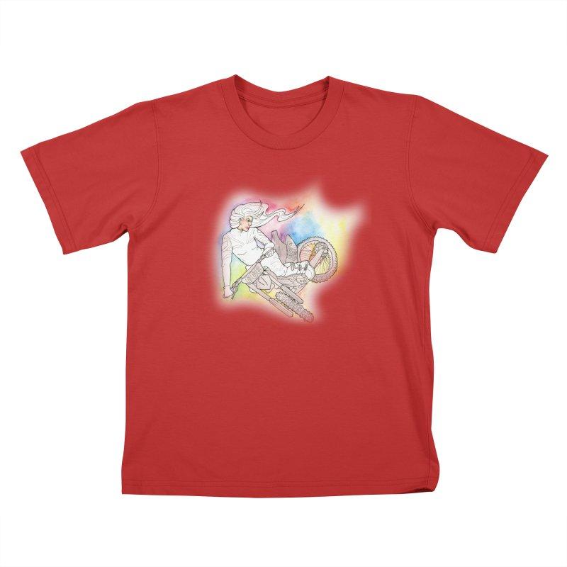 Motorcycle Maiden Kids T-Shirt by JordanaHeney Illustration