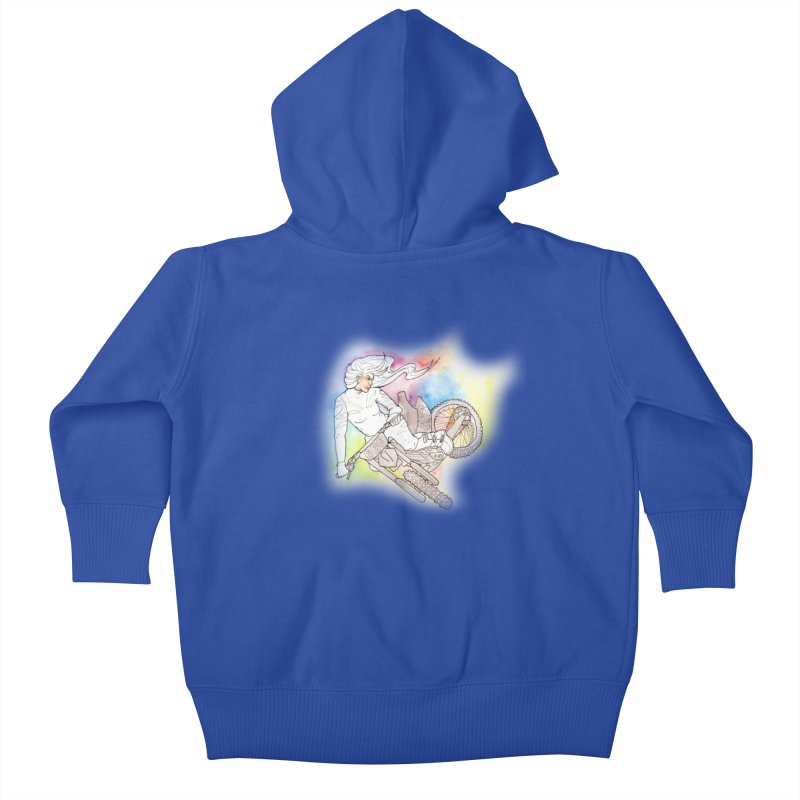 Motorcycle Maiden Kids Baby Zip-Up Hoody by JordanaHeney Illustration