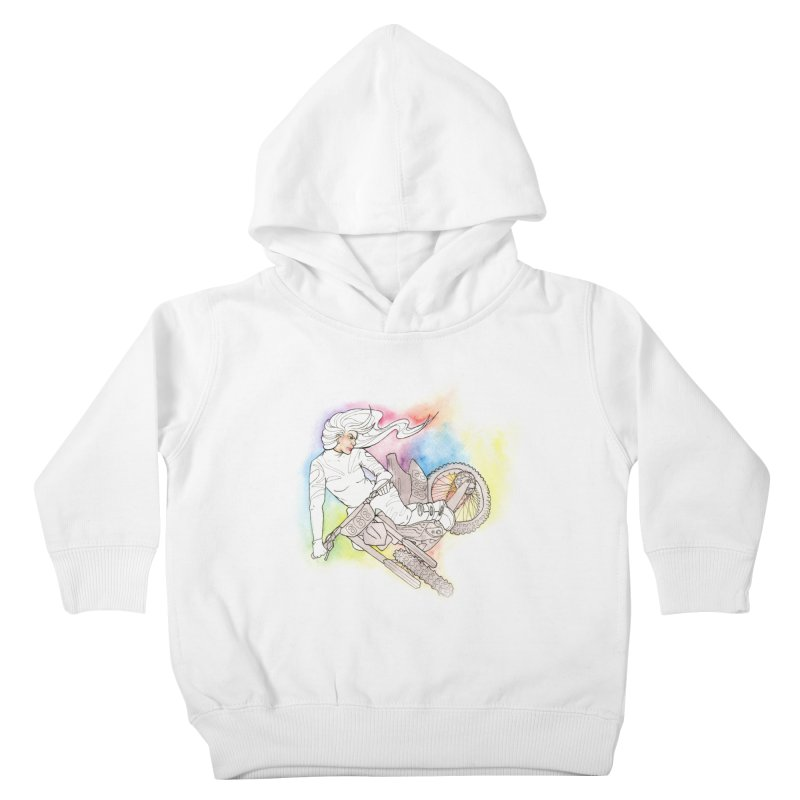 Motorcycle Maiden Kids Toddler Pullover Hoody by JordanaHeney Illustration