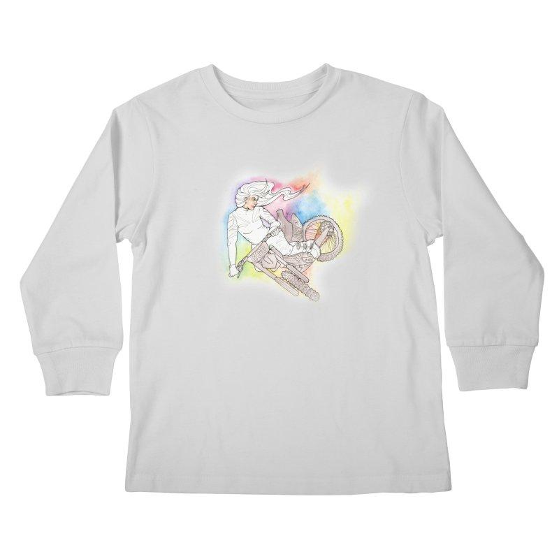 Motorcycle Maiden Kids Longsleeve T-Shirt by JordanaHeney Illustration