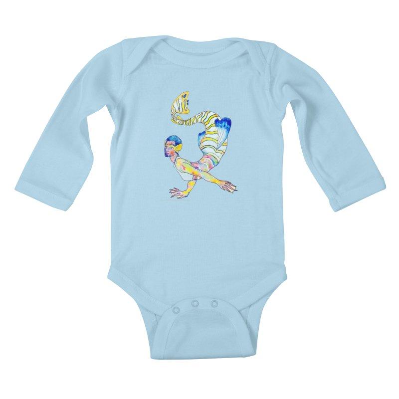 Rainbow Mermaid Kids Baby Longsleeve Bodysuit by JordanaHeney Illustration