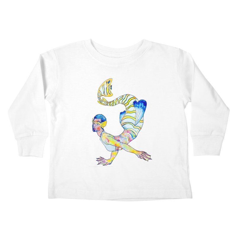Rainbow Mermaid Kids Toddler Longsleeve T-Shirt by JordanaHeney Illustration