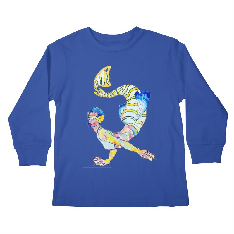 Rainbow Mermaid Kids Longsleeve T-Shirt by JordanaHeney Illustration