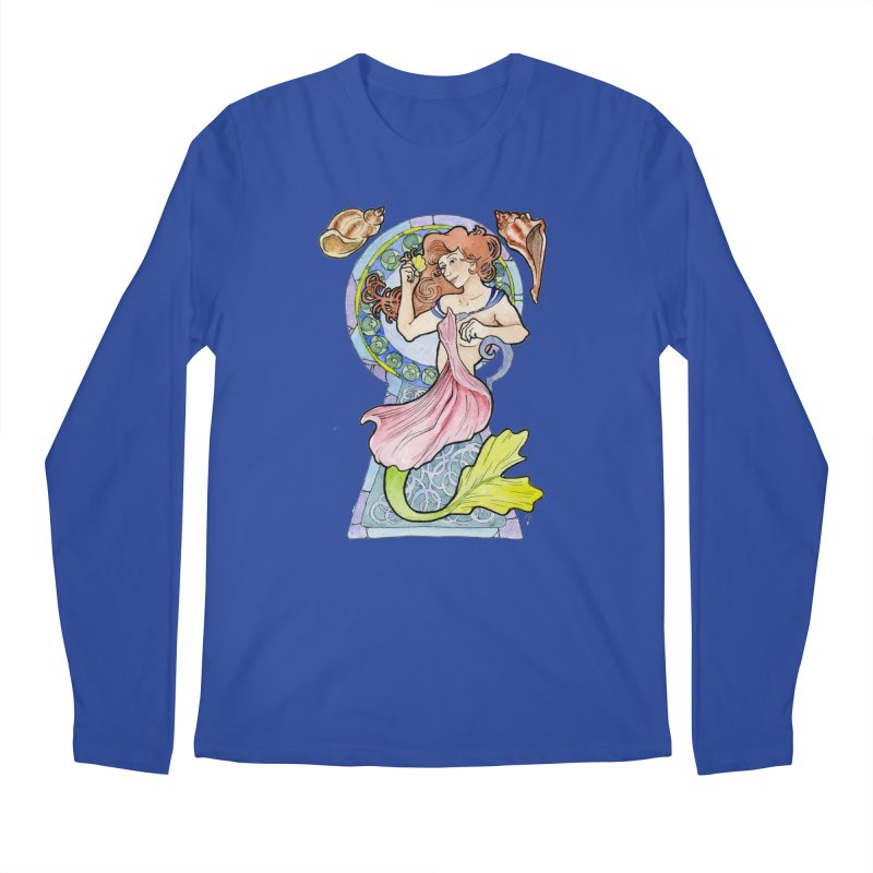 Mucha Mermaid Men's Longsleeve T-Shirt by JordanaHeney Illustration