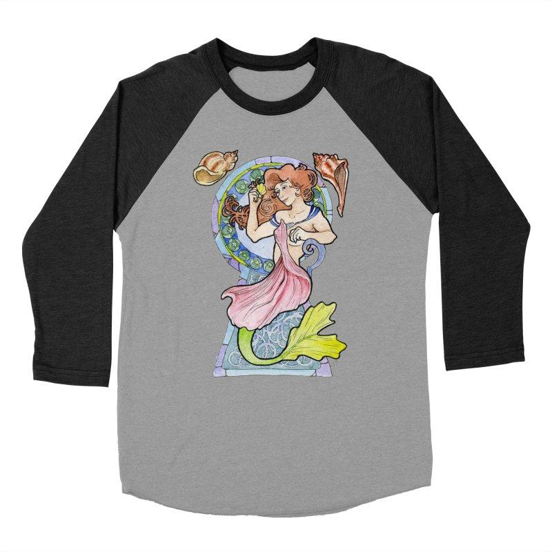 Mucha Mermaid Men's Baseball Triblend T-Shirt by JordanaHeney Illustration