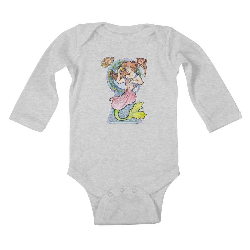 Mucha Mermaid Kids Baby Longsleeve Bodysuit by JordanaHeney Illustration