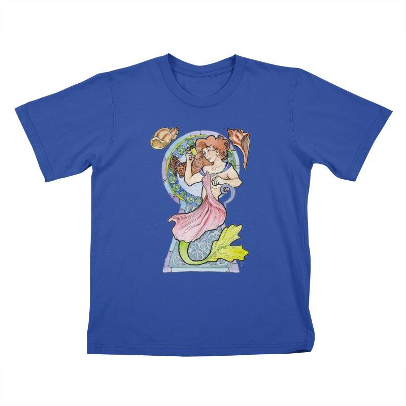 Mucha Mermaid Kids T-Shirt by JordanaHeney Illustration