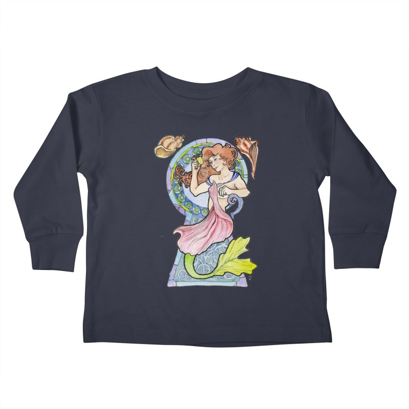 Mucha Mermaid Kids Toddler Longsleeve T-Shirt by JordanaHeney Illustration