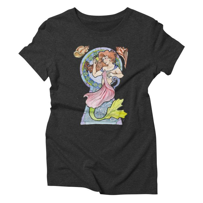 Mucha Mermaid Women's Triblend T-Shirt by JordanaHeney Illustration