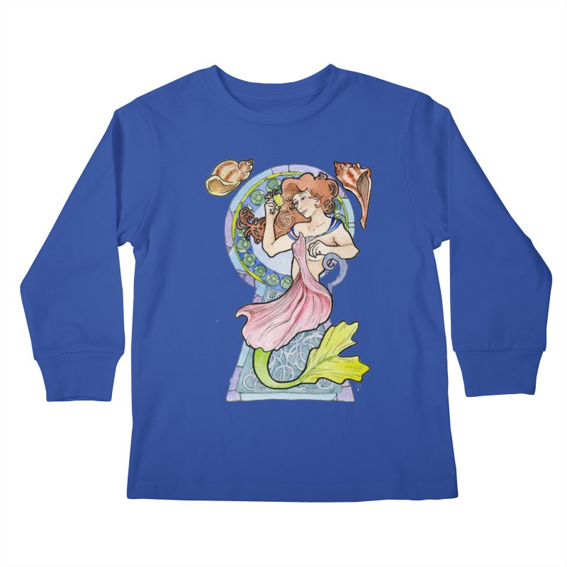 Mucha Mermaid Kids Longsleeve T-Shirt by JordanaHeney Illustration