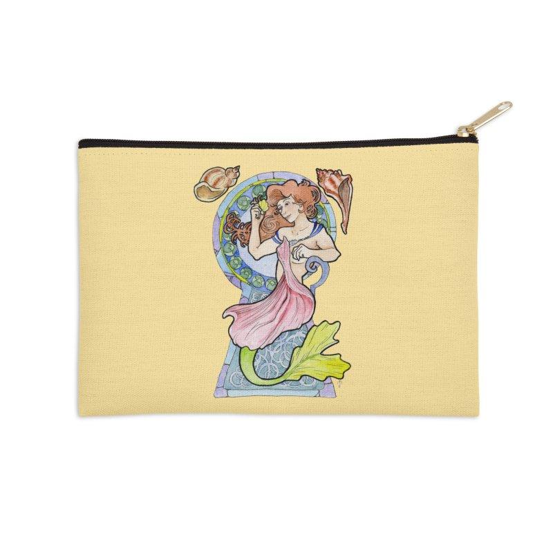 Mucha Mermaid Accessories Zip Pouch by JordanaHeney Illustration