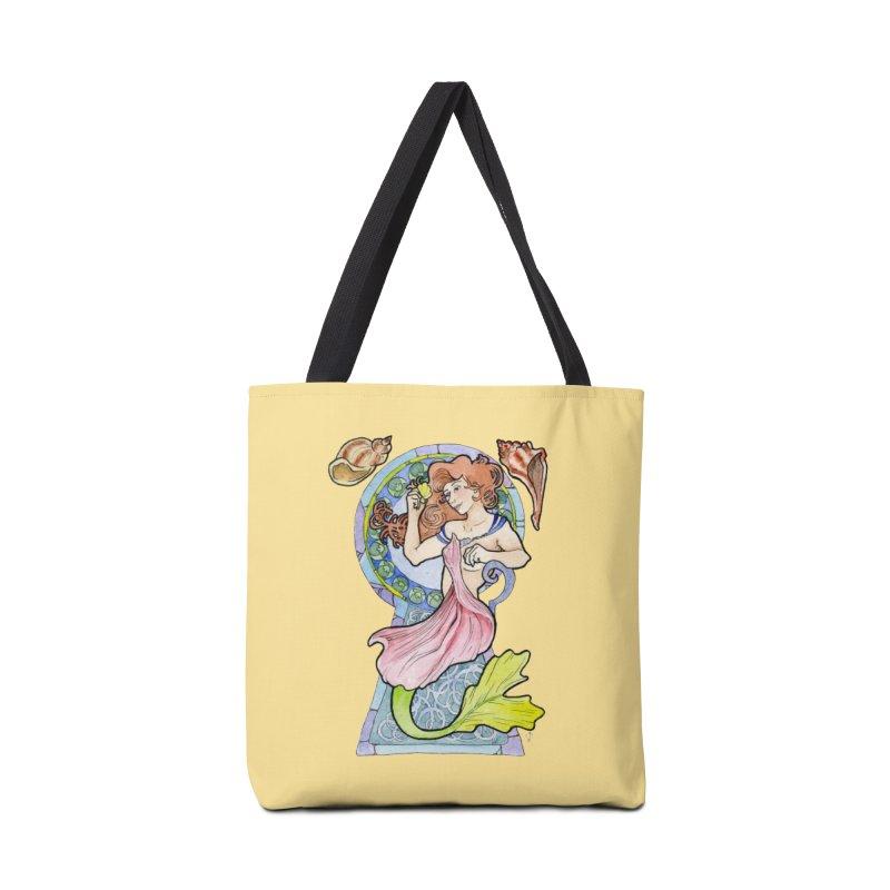 Mucha Mermaid Accessories Tote Bag Bag by JordanaHeney Illustration