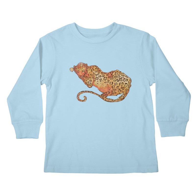 Leopard Kids Longsleeve T-Shirt by JordanaHeney Illustration