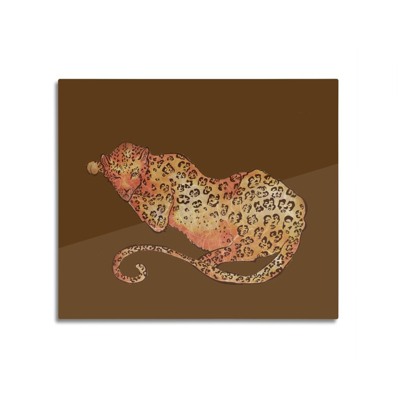 Leopard Home Mounted Aluminum Print by JordanaHeney Illustration
