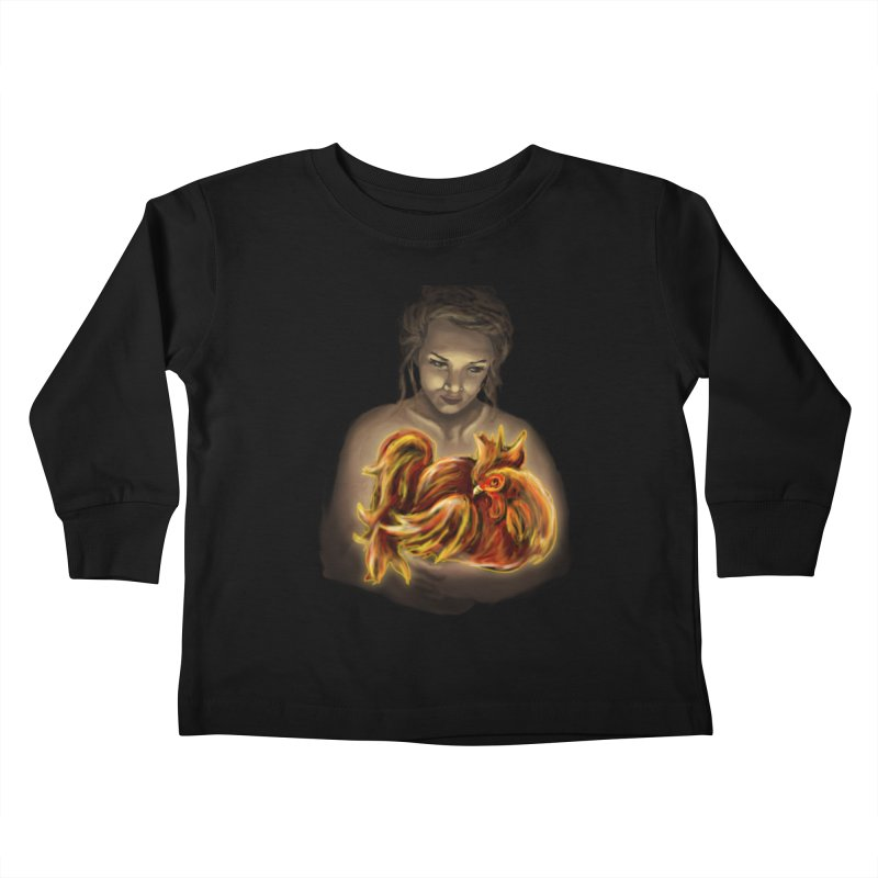 Year of the Fire Rooster Kids Toddler Longsleeve T-Shirt by JordanaHeney Illustration