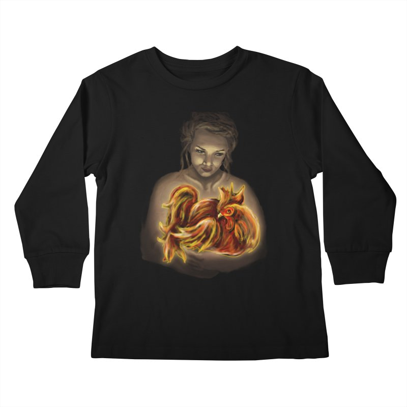 Year of the Fire Rooster Kids Longsleeve T-Shirt by JordanaHeney Illustration