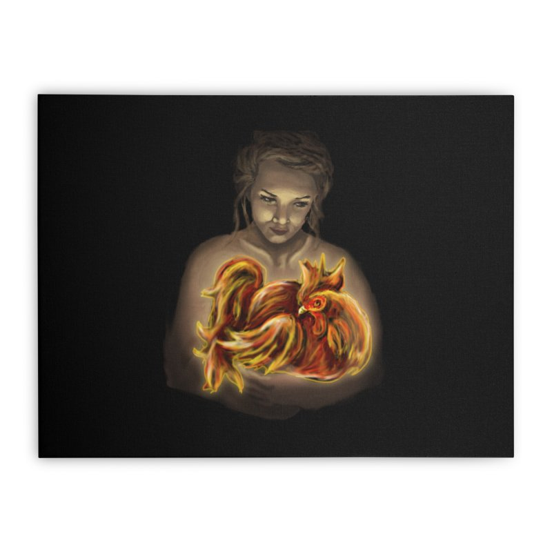 Year of the Fire Rooster Home Stretched Canvas by JordanaHeney Illustration