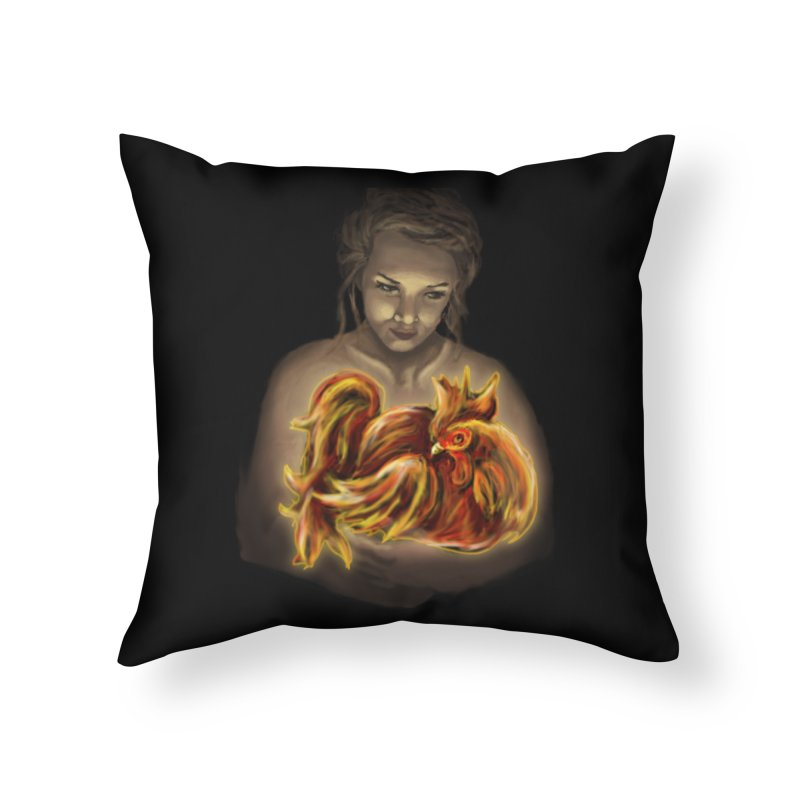 Year of the Fire Rooster Home Throw Pillow by JordanaHeney Illustration