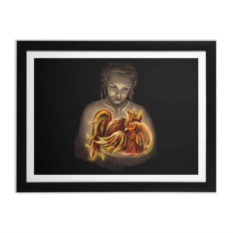 Year of the Fire Rooster Home Framed Fine Art Print by JordanaHeney Illustration