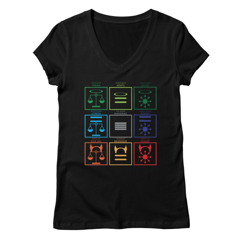 Alignment Chart (PotW) Women's V-Neck by JordanaHeney Illustration