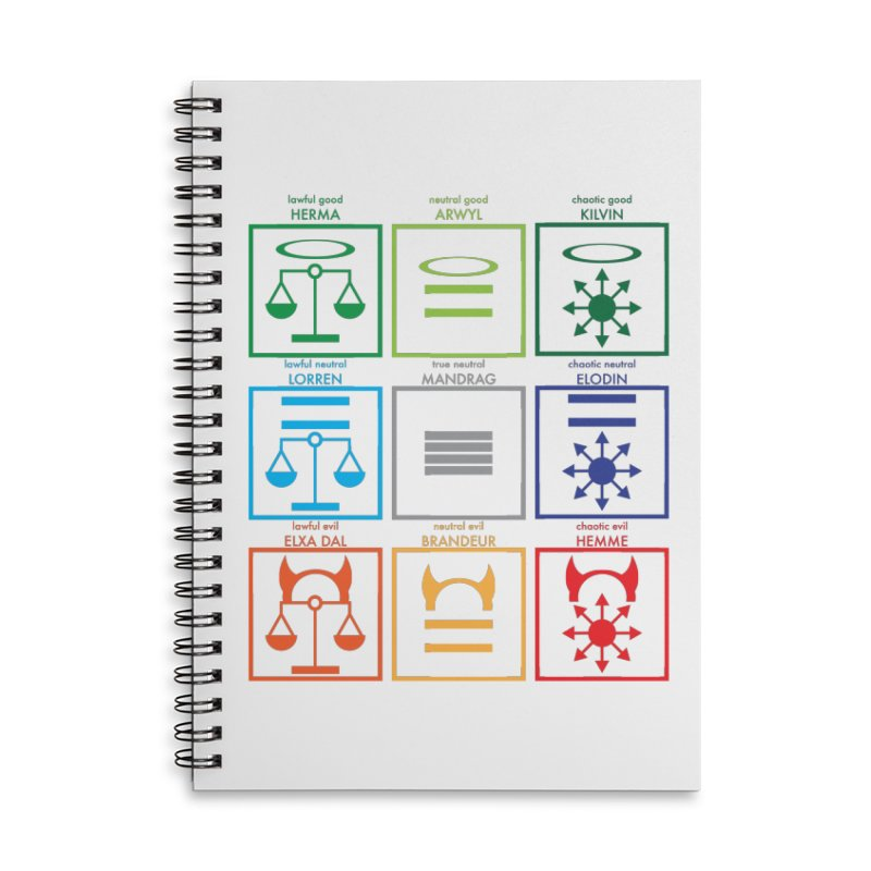 Alignment Chart (PotW) Accessories Lined Spiral Notebook by JordanaHeney Illustration