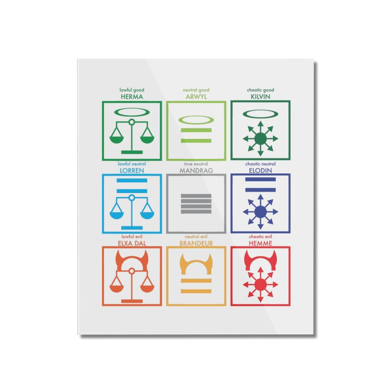 Alignment Chart (PotW) Home Mounted Acrylic Print by JordanaHeney Illustration