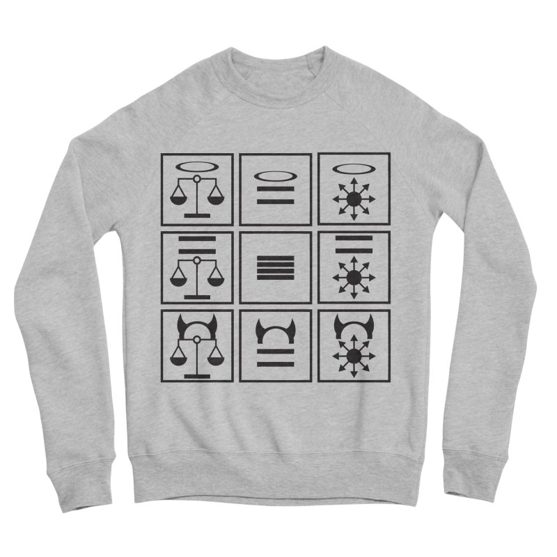 Alignment Chart: Black Men's Sponge Fleece Sweatshirt by JordanaHeney Illustration