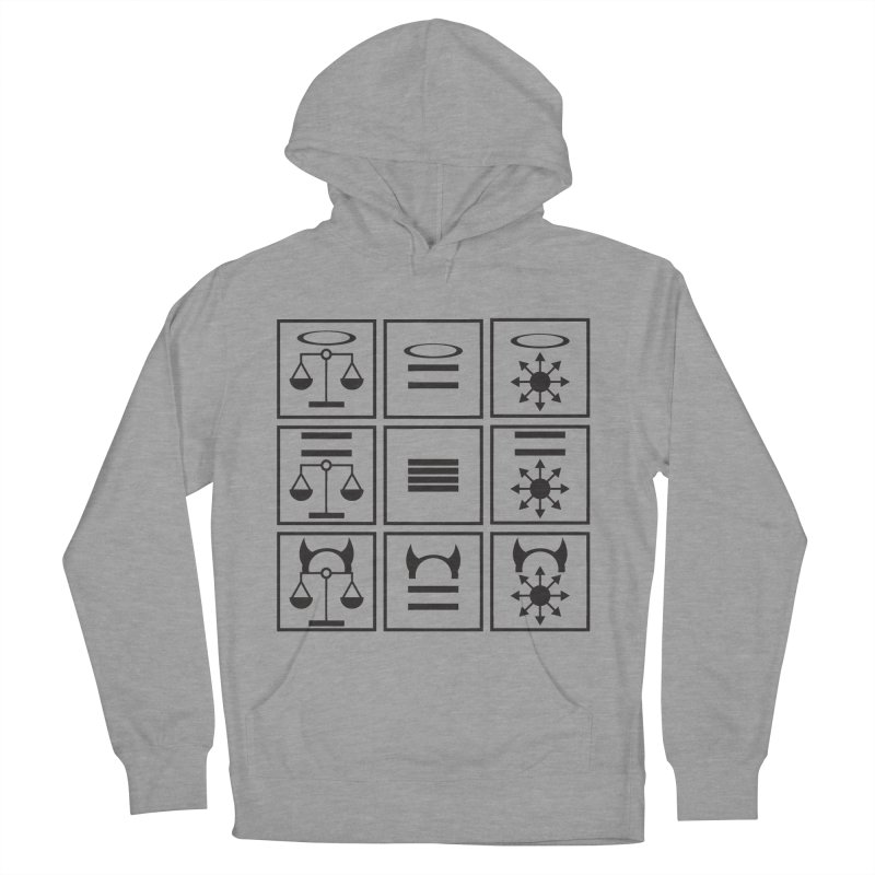 Alignment Chart: Black Men's French Terry Pullover Hoody by JordanaHeney Illustration