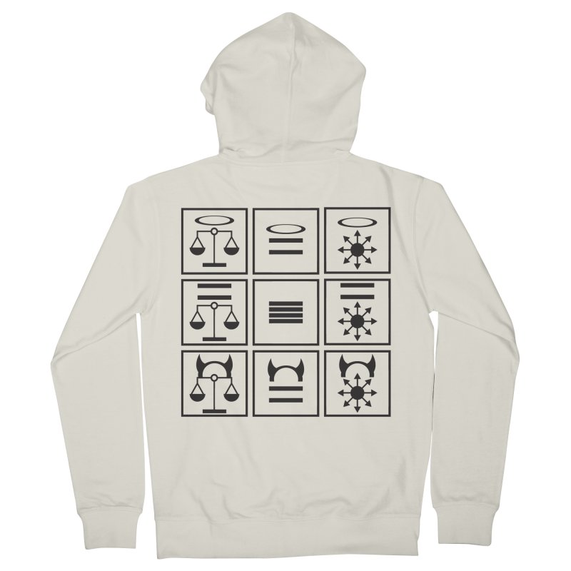 Alignment Chart: Black Women's French Terry Zip-Up Hoody by JordanaHeney Illustration