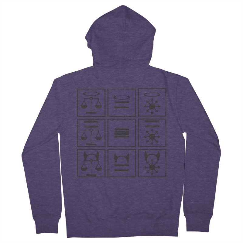 Alignment Chart: Black Men's French Terry Zip-Up Hoody by JordanaHeney Illustration