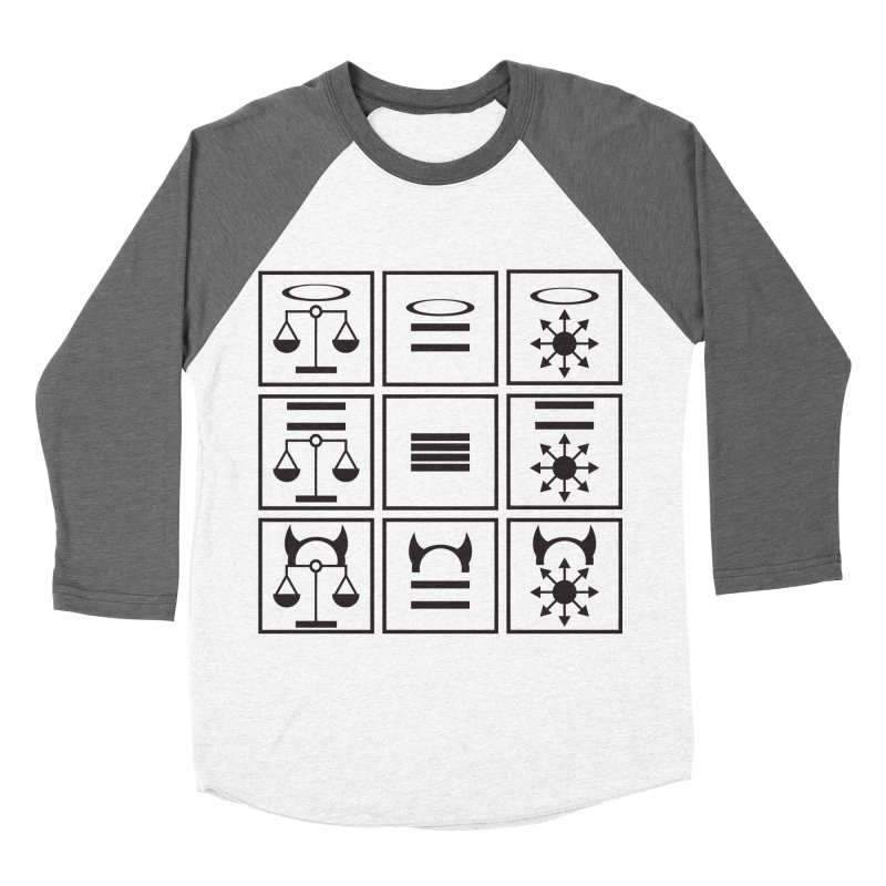 Alignment Chart: Black Women's Baseball Triblend Longsleeve T-Shirt by JordanaHeney Illustration