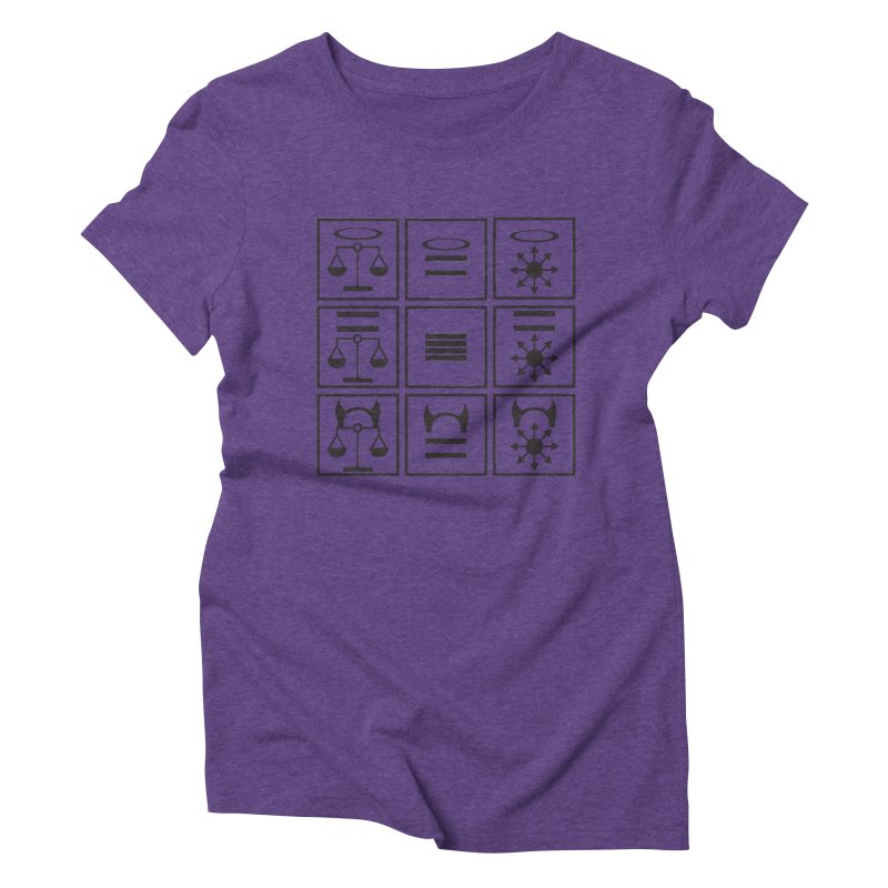 Alignment Chart: Black Women's Triblend T-Shirt by JordanaHeney Illustration